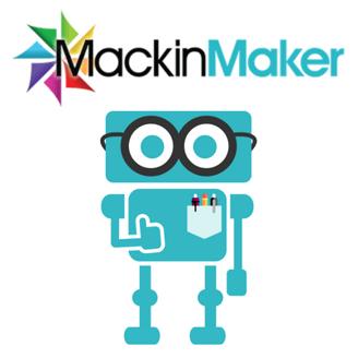 Mackin logo + Max the robot